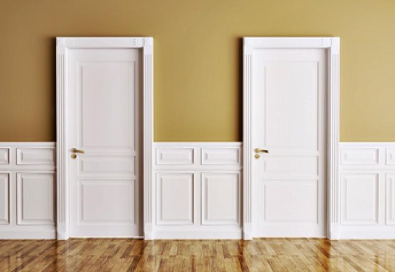 White interior doors with three raised panels