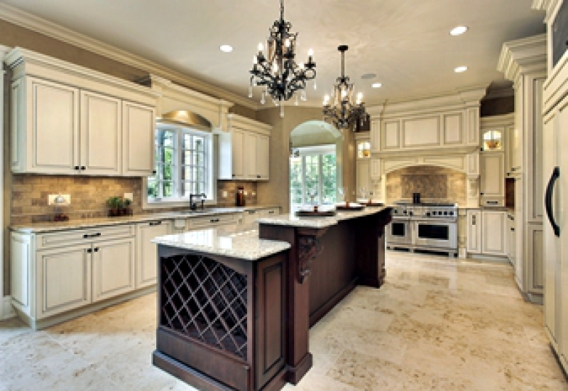 Renovated kitchen with white and dark cabinets