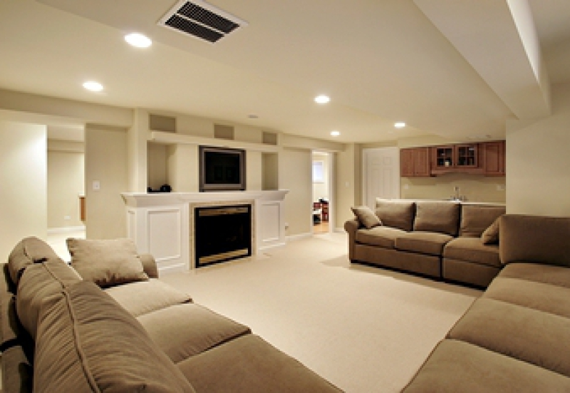 Renovated basement with sofas, carpeting, and entertainment center