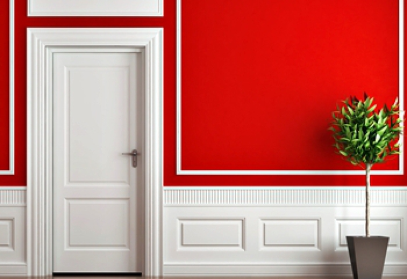 Wainscot with raised panels and a red wall with white trim