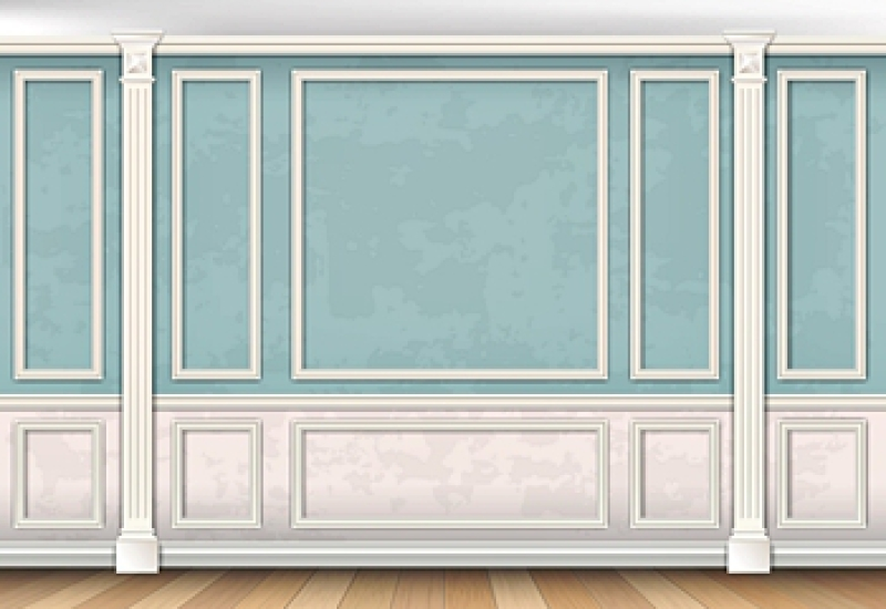 Design drawing of a wall with trim and pilasters