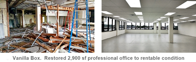 before and after of a 2,900 sf office renovation