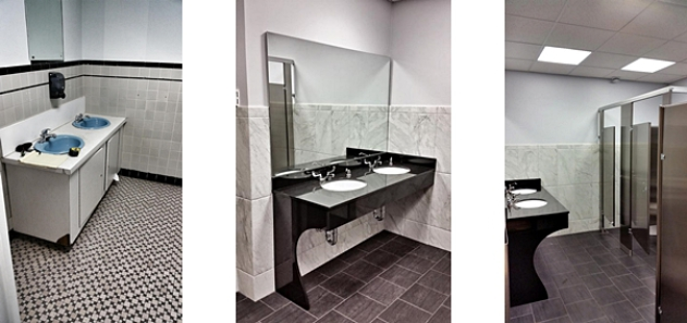 Before and after mens bathroom renovation in a professional office building
